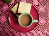 breakfast (johanna) Tags: home coffee pinkngreen breakfast toast tablecloth kitchentable iateit