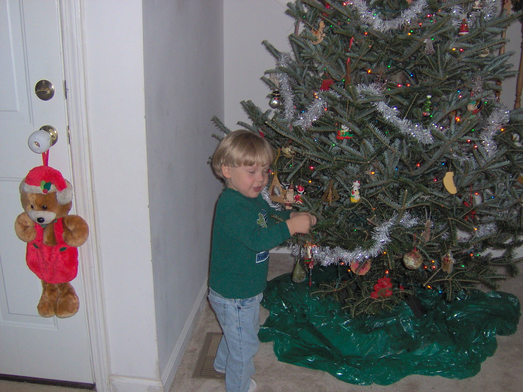 Damien Decorating Christmas Tree