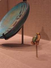 amulet and dish (elinar) Tags: california sanfrancisco goldengatepark deyoungmuseum egyptian artifacts exhibit amulet dish scarab