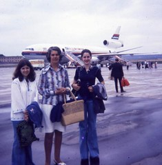 Package holiday 1973 (virgorama) Tags: laker mum mother daughter 1973 flares airplane holiday airport cheesecloth platforms