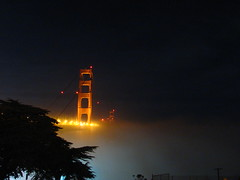 shoreline fog watch (pbo31) Tags: ocean sanfrancisco california bridge urban orange mist black northerncalifornia fog night dark bay lowlight noir towers foggy 101 pacificocean goldengatebridge goldengate sanfranciscobayarea bayarea sanfranciscobay noise presidio califronia thegoldengate southtower historicbridges