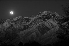 Full Moon Over Wasatch Mountains (B&W) (LeggNet) Tags: winter moon mountain night rockies utah wasatch fullmoon nighttime saltlakecity moonrise leggnet legg interestingness124 interestingness83 i500 123bw leggnetcom richlegg richlegg wwwleggnetcom