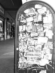 Graffiti mailbox (ETL-Photography) Tags: street city white black mailbox photography graffiti store sticker downtown mail box tag stickers sidewalk slap stores slaptag