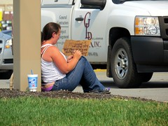 The begging butt crack woman doodling on her sign. (kennethkonica) Tags: city blue people urban white signs men panties america pen canon women midwest sitting outdoor candid indianapolis seat fat indy indiana beggar buttcrack lazy sit facialhair seated economy begging panhandler beg obese overweight canonpowershot marioncounty