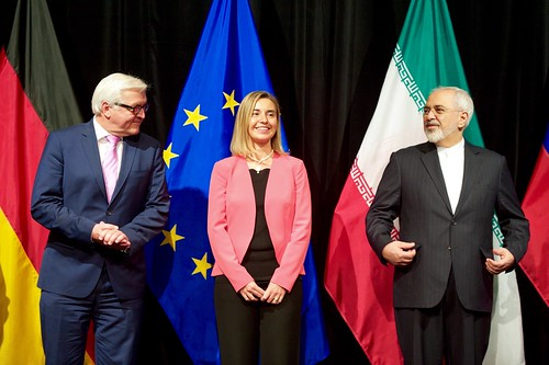 German Foreign Minister Steinmeier, EU High Representative Mogherini, and Iranian Foreign Minister Zarif Stand for a Group Photo After EU, P5+1 Reached Iran Nuclear Agreement in Austria, From FlickrPhotos