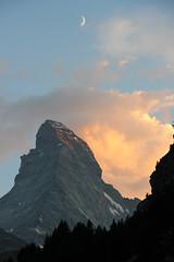 8 Matterhorn Sunset and crescent moon, Zermatt, Switzerland (Jim_Higham) Tags: summer mountain alps switzerland europe dramatic alpine zermatt matterhorn