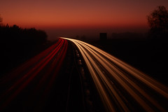 into the mist (explored) (another_scotsman) Tags: motorway sunset mist landscape longexposure