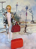 Last train to Clarkson (Foxy Belle) Tags: truly scrumptious doll vintage mattel francie train snow winter travel fur suitcase painting depot 1960s mod