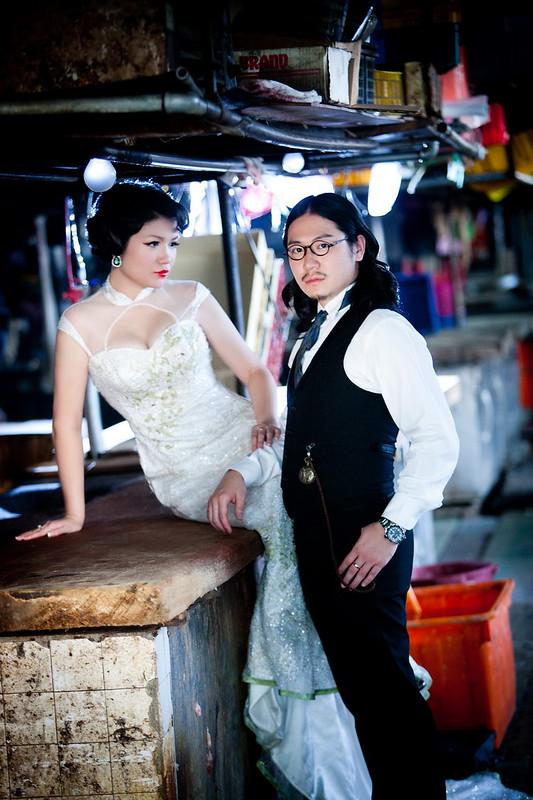 新人婚紗,菜市場,古董傢俱店,婚紗攝影