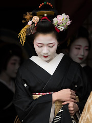 gorgeous (byzanceblue) Tags: gion kyoto miyagawacho maiko geisha geiko black white red flower kanzashi kimono woman girl lady lovely beauty cool とし純 駒屋 宮川町 祇園 京都 舞妓 芸妓 着物 かんざし 奴島田