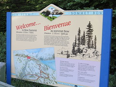 Bow Summit (Patricia Henschen) Tags: banff banffnationalpark nationalpark icefieldsparkway park parks parcs parkscanada peyto lake bowsummit peytolake mistayariver glacier creek rockflour mountains mountain canadian canadianrockies rockies rocky rockymountains clouds sign interpretive