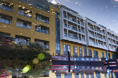 Camden Town, London (jaumescar) Tags: camden london reflection water architecture yellow modern upsidedown light city urban shape form color