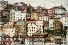 Berge du Douro à Porto (Xtian du Gard) Tags: oilpainting painting douro porto paysage landscape architecture portugal cityscape art houses maisons colors couleurs digiart xtiandugard