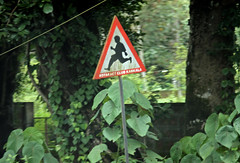 Boy Crossing (cowyeow) Tags: street boy india sign club danger warning asian funny asia crossing traffic indian streetsign roadtrip running roadsign funnysign southasia rotaract karkala runningboy funnyindia