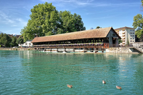 Switzerland, Thun, Holzbrucke Schleusen