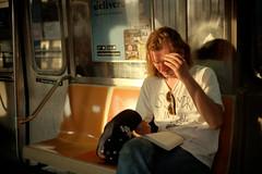 Reading (dtanist) Tags: new york city nyc newyorkcity newyork film station brooklyn analog subway island reading book kodak rangefinder olympus terminal sp mta commuter 100 coney avenue 35 zuiko dtrain stillwell ektar gzuiko 35sp 42mm