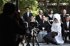 Not a funeral, but a wedding (Thorsten Reiprich) Tags: city summer people urban travelling sunshine japan asia day capital group shibuya harajuku   tradition  shinto kanto tokio  honshu