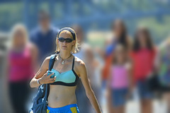 What You See (swong95765) Tags: woman blur cute sports beauty sunglasses lady female wonderful walking outfit focus soft pretty dof shades bikini backpack blonde shorts lovely sporty blend distractions