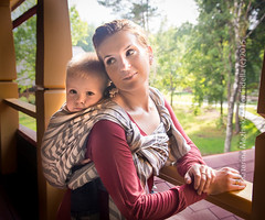 Shebra Smoke (Gingertail) Tags: family blue summer relax happy grey kid child russia outdoor smoke wrap babywearing sling zebra siren carry hemp comfy vladimir femine fidella shebra katerinamezhekovaphotography