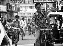 Traffic bike (L▲iv ©) Tags: life india bike bicycle is blackwhite nikon you indian like move riding your varanasi keep to balance must traffico 2013 laivphoto