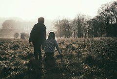 Lets get lost (3/156) (markfly1) Tags: children walking winter scene mist sunlight contrast holding hands trees woodland getting lost having fun nikon d750 50mm boy girl