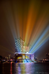 Rainbow Opera (Matt Rimkus) Tags: hamburg elphi water reflections sky elbphilharmonie river port clouds deutschland de lights operahouse colourful nightshot building lasershow