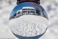 Day 8/365 My home in a globe (Tewmom) Tags: 365the2017edition 3652017 day8365 8jan17 winter home globe crystalball crystal reflection snow
