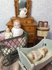 Bisque babies in new dresses (Foxy Belle) Tags: doll baby dollhouse antique bisque handmade dress scraps ooak 112 scale germany german jointed shabby chic charm pastel chalk paint repainted makeover miniature aged patina
