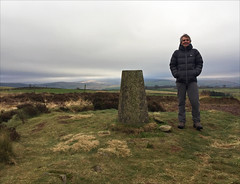 3 of 52 trigpoints (Ron Layters) Tags: 2017 ronlayters selfportrait 52trigpoints cobdenedge trigpoint winter cold badweather lightonthemoor grass mound landscape pillar tp2306 fbs2770 mellor greatermanchester england unitedkingdom 52weeks 52 phonecamera iphone apple appleiphone6 selftimer tripod 10secondtimer weekthree week3 3