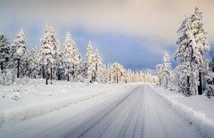 Winter road (tods_photo) Tags: ifttt 500pxrtg 500px road winter snow cold sky blue clouds trees sun tree light forest mountain yellow glow landscape