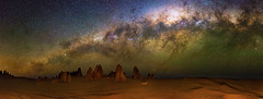 Milky Way setting over The Pinnacles Desert, Western Australia (inefekt69) Tags: thepinnaclesdesert pinnacles desert nambung nambungnationalpark panorama stitched mosaic ms ice milky way cosmology southernhemisphere cosmos southern westernaustralia australia dslr longexposure rural nightphotography nikon stars astronomy space galaxy astrophotography outdoor milkyway core great rift ancient sky 35mm d5100 airglow landscapeastrophotography nikkor prime lens explore explored