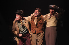 (L to R) Doug Carfrae as Harry, Stephen Berger as Alfred P. Doolittle and Kevin McMahon as Jamie in My Fair Lady, produced by Music Circus at the Wells Fargo Pavilion June 9-14, 2015. Photos by Charr Crail.