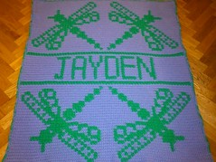 Dragonfly blanket for Jayden (dochol) Tags: baby cute wool dragonfly handmade crochet craft yarn blanket afghan bebe alphabet hook manta personalised croche babybalanket haakenwert