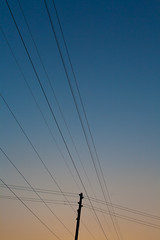 Day 11 / 365 (marcin baran) Tags: blue sunset sky orange sun lines sunshine cord evening power perspective days line pole 365