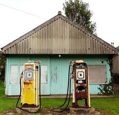 Energy Crisis, Brora, Sutherland (aberdeen granite) Tags: archaeology station scotland automobile energy industrial pump petrol bp sutherland filling motoring brora