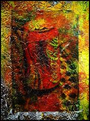 Untitled. 無標題. (bluebagski) Tags: mixedmedia aluminum foil pvaglue texture acrylic paint varnish canon ixus900ti phototransfer cocacola red