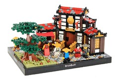 Fresh Fish! (jsnyder002) Tags: lego moc creation asian medieval japanese chinese house building village street town mosaic snot cheese window wall roof design technique tree minifig interior door floor landscape market cart vendor fish