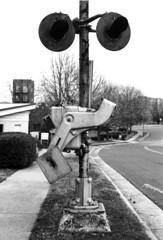Anachronism (F. Neil S.) Tags: train crossing signal derelict rusty defunct downtown bulldurham blackandwhite monochrome tmax100 6x7 120 roll film negative selfdev xtol rodinal standdevelopment rapidomega100 bwfp