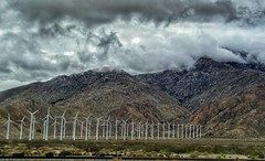 Powered By Nature (ampkmoe) Tags: mountains windmill clouds cloudysky california i10 landscapes travel mountainrange windpower