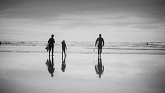 Echo Beach (Scott Baldock) Tags: devon surfers family bw mono reflection minimal sea coast water mist