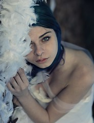 Ethereal soul (Sus Blanco) Tags: portrait artisticportrait beautiful white feathers forest blueeyes fineart conceptual ethereal blue eyes
