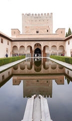 Pure symmetry at Alhambra (roomman) Tags: 2017 spain granada alhambra castle fort fortification fortress citadel citadella huge big old moor moorish art architecture monument landmark visit excursion water palace pond symmetry mirror reflection no wave waves nowave nowaves building buildings arab arabian style design