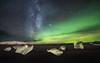 Diamonds at Night (Appalachian Hiker) Tags: iceland aurora iceberg beach jokulsarlon glacier blacksand night ice winter milkyway