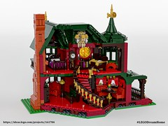 Victorian Dream Home on LEGO Ideas - Red interior (buggyirk) Tags: building whimsical district creator house queen victorian modular buggyirk historic architecture historical home anne dream bassinet piano grand baby figure minifigure lego afol moc dark green red orange fireplace bedroom living room dining dinette set wing chair tufted couch interior exterior garden turret tower gable finial stained glass window porch grandfather clock chandelier light brick built spiral staircase stairs pillar flower tree bush ideas crawl space vent arch tile family legodreamhome fantasy whimsy miniature cottage