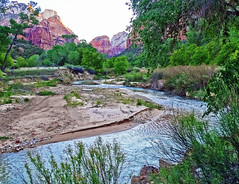 A River Runs Through It, Zion NP 2014 (inkknife_2000 (7 million views +)) Tags: zionnationalpark usa landscapes nationalparks redrockformations nature hiking utah utahnationalparks dgrahamphoto virginriver sunrise firstlight inshadow predawnlight reflectionsonwater