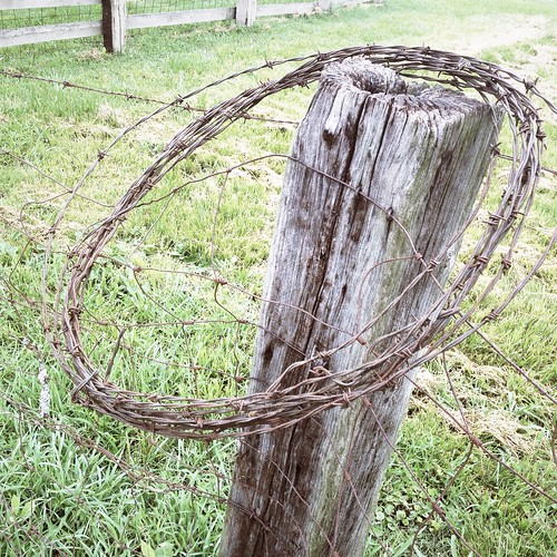 HipstaPrint Barbed Wire Coil on Fence Post