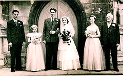 Peter Gill Dad  Mum Evelyn and Arthur Wedding Sep 1954 (Bury Gardener) Tags: uk wedding england blackandwhite bw suffolk 1954 1950s oldies eastanglia burystedmunds