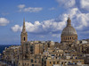 Reaching for the Heavens (ORIONSM) Tags: valetta church cityscape skyline heavens religion clouds blue azure sky tower dome olympus omdem10markii