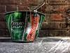 Bud Bucket (ikilledkenny1029) Tags: amazing streetart colors green red brick bucket trash budweiser budlight beer