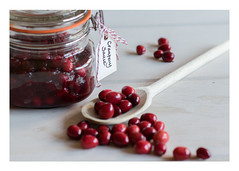 343/366: Festive preparations (judi may) Tags: 366the2016edition 3662016 day343366 8dec16 cranberrysauce kilnerjar jar cranberries berries red woodenspoon wood label tag food festivepreparations spoon canon7d 50mm dof depthoffield foodstyling